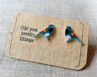 Blue bird stud earring posts