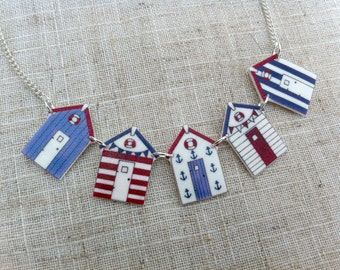 Beach hut necklace - Bunting necklace - Summer necklace - Nautical necklace - Blue necklace - Gift for her