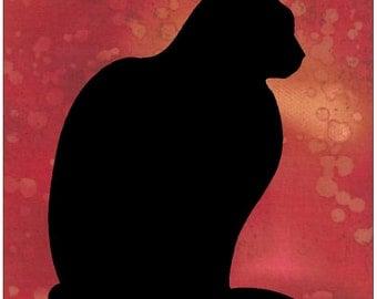 Sitting Black Cat Silhouette Quilt Applique Pattern Design