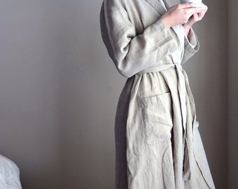 Vintage style natural linen robe/ Long linen gown/ Luxurious spa robe