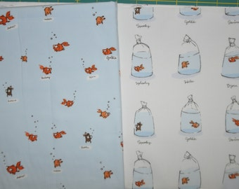 Goldfish Bundle - Heather Ross Swimming & Bags - Lightening Bugs Cotton Quilting Fabric