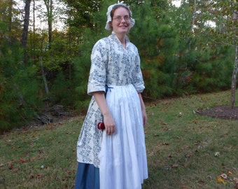 Custom Order ~ 18th Century Hand-Sewn Bedgown ~ for Colonial Rev War Reenacting or Costume (CL-BGC)