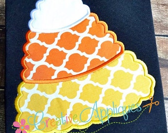 Scallop Candy Corn  Digital Machine Embroidery Applique Design 4 Sizes, candy corn applique, halloween applique, halloween candy applique