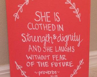 Quote Canvas Scripture Proverbs 31:25