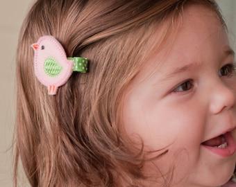 Felt hair clip- Pink and Green Bird pinch hair clip - felt birdie barrette - hair bow - felt toddler clip - baby snap clip
