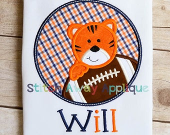 Tiger Football Circle Machine Applique Design