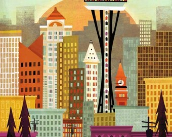 Seattle Skyline by Amber Leaders 5x7 or 11x14 art print