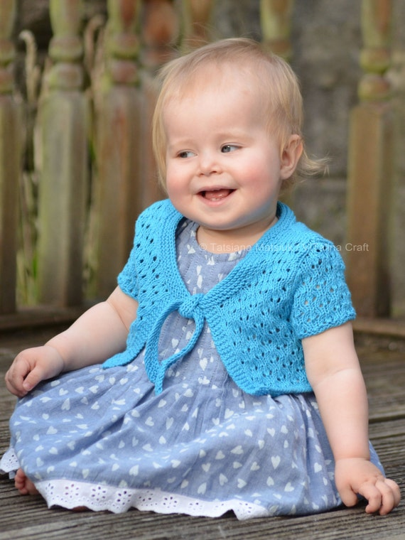 Knitting Pattern Baby Bolero Cardigan : Knitting Pattern Waterfall Bolero Cardigan Baby Child