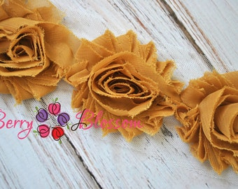 "2.5"" Saffron Yellow shabby flower trim - frayed chiffon - rose flowers by the yard - JT Mustard"