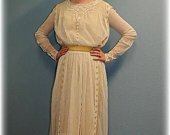 Antique Victorian Edwardian Downton Abbey style, garden party dress, vintage wedding dress