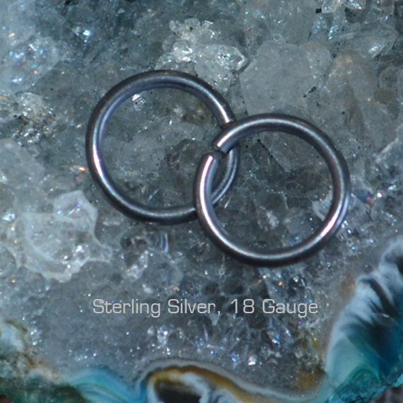 Small Nose Ring 8mm - Dark Silver Nose Stud - Nose Hoop - Cartilage Earring - Tragus Earring - Daith Ring - Helix Hoop - Nose Piercing 20g