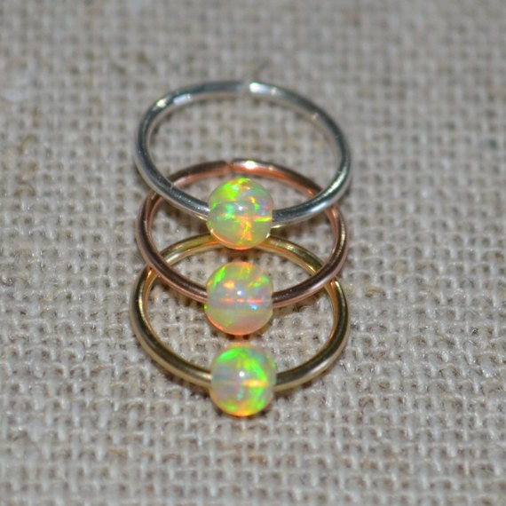 Septum Ring - Gold Nose Ring 3mm Opal - Helix Ring - Tragus Piercing - Septum Hoop - Nipple Jewelry - Cartilage Ring 20 gauge