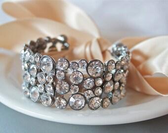 Bridal Cuff Bracelet, Crystal Bracelet, Elegant Ribbon Bracelet, Bridal Jewelry Trends 2017, Ribbon Bracelet, Cuff Bracelet, Bridal Jewelry