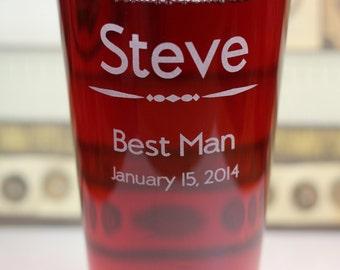 Groomsmen Best Man Pint Glass Wedding gift
