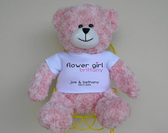 "Flower Girl 16"" Personalized Bear with color matched ribbon - wedding party maid of honor bridesmaid flower girl gift"