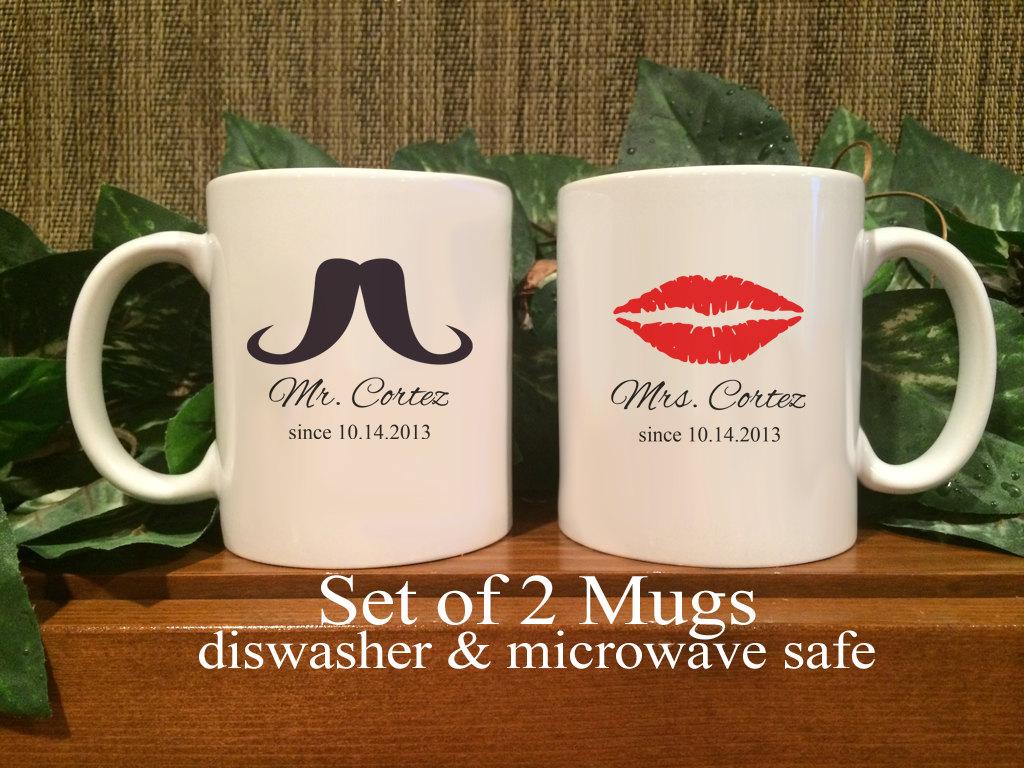 Printed Wedding Mugs : Personalized Mr. & Mrs. Coffee Mugs Shower Gift Wedding