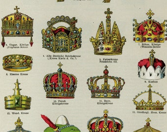 "Rare Antique "" Crowns of Royalty "" Print  C. 1900 Custom Matted 11x14"" Vintage Decor"