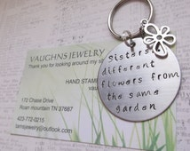 stainless steel key chain key ring  Sisters... different flowers from the same garden  flower charm