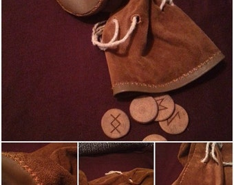 Hand made runic - tarrot leather pouches