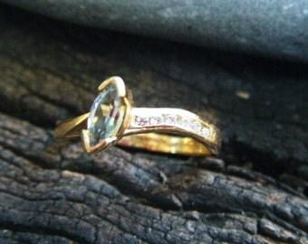 AQUAMARINE and DIAMOND ring, aquamarine engagement ring, marquise Aquamarine ring, natural conflict free gem, alternative engagement ring