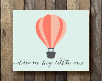 Hot Air Balloon Nursery Art - Mint and Coral Nursery - Hot Air Balloon Printable - Balloon Nursery Art - Coral and Mint Nursery