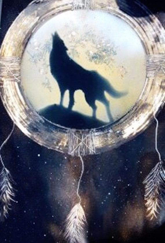 Wolf dream catcher spray paint by beautifulrendition on etsy for Dream catcher spray painting