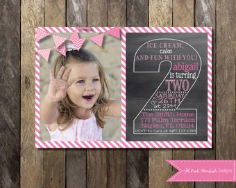 Chalkboard Second Birthday Invitation, Second Birthday Invitation with Picture, Printable Invitation, Chalkboard Invitation, Pink Invitation