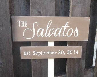 Custom Wedding Directional Sign, Distressed, Ceremony, Reception, 2 Signs with stake or ribbon