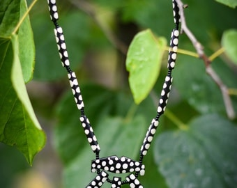Black and White Polka Dot Necklace from Kenya