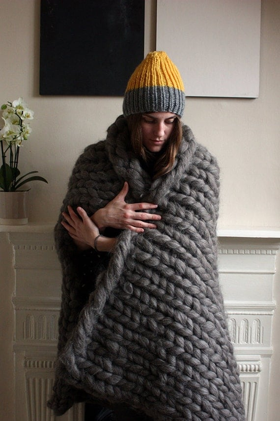 Chunky Knit British Wool Throw