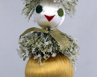 Vintage Christmas Figurine Gold/White Silk Ornaments Glitter Hat/Ruff Faux Snow Accents