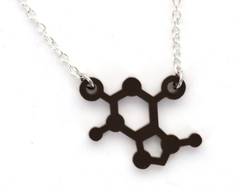 THEOBROMINE Chocolate BioChemistry Molecule Laser Cut Acrylic Necklace, Brown Charm Connector Pendant, Silver Plated Cable Chain, lca0118