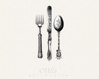 Antique Knife, Fork, Spoon Silverware Cutlery- Vintage ClipArt Digital Printable PNGs