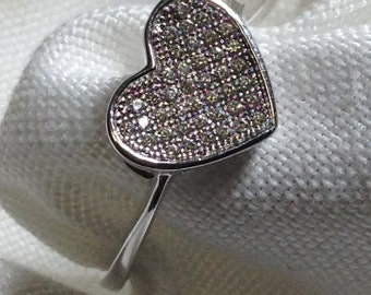 Sterling Silver 925 Micro Pave Cubic Zirconia CZ Flat Heart Shape Ring