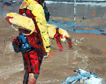 Limited edition, art print, giclee, on 100% cotton rag, archival paper, original, impressionist, oil, painting, 'The Lifeguard'.Gift For Him