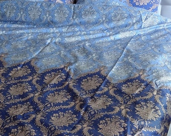 Twin / Twin XL Duvet Cover Blue Damask Pattern Cotton Satin Dorm Bedding Quilt Cover Home Decor