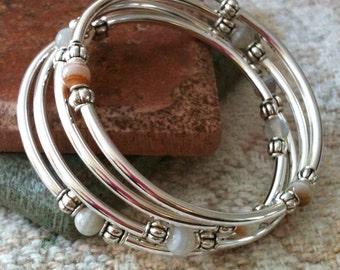 4 Loop Memory Wire Beaded Bangle Bracelet
