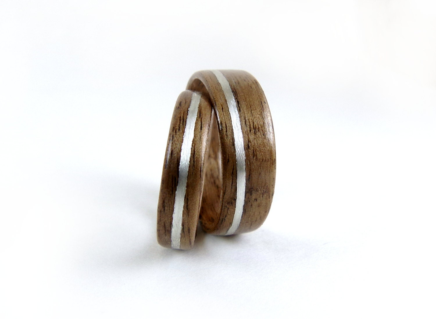 wood ring set silver inlay walnut rings bentwood ring set. Black Bedroom Furniture Sets. Home Design Ideas