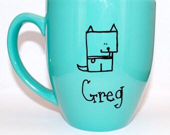 Hand Drawn Dog Name Mug (Customizable)