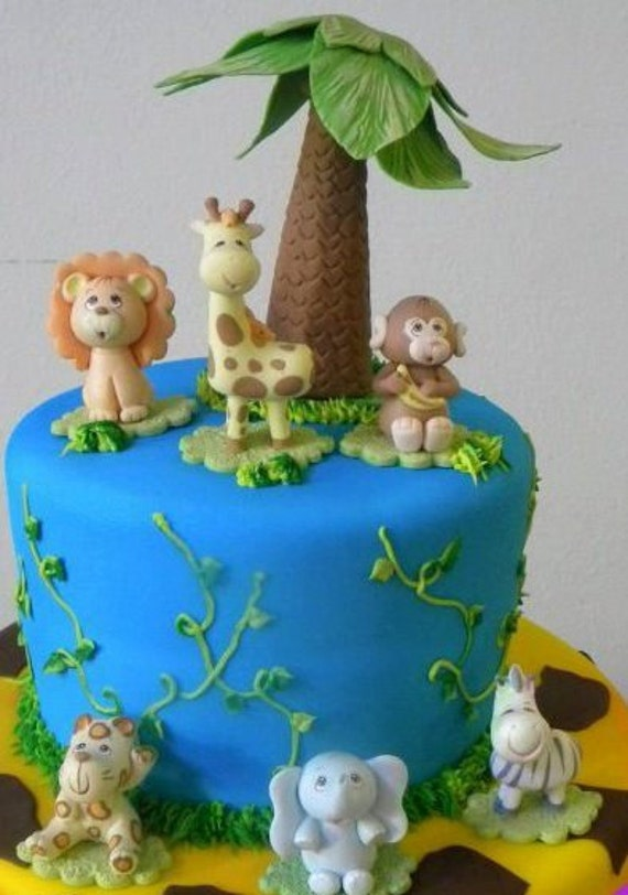 Jungle Safari Animal Cake Topper Monkey Jungle Cake Topper