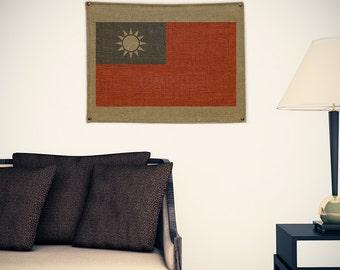 Taiwan Burlap Flag