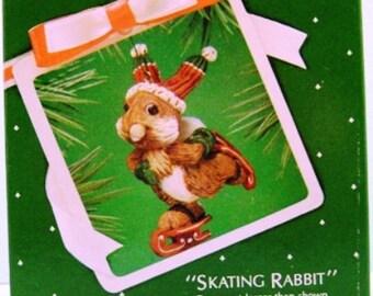 1983 Skating Rabbit Retired Hallmark Ornament