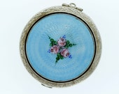 Silver Compact Mirror with Flowers and Enamel