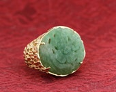 14K Gold Ring with Carved Jade Flower