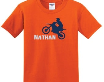 Personalized Dirtbike t shirt, boy dirtbike shirt with name