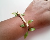 Vanilla Cream Twig Bracelet Wire Wrapped with Copper and Green Leafed Vine, Off White Ivory Lacquered Bangle with Nature Botanical Influence