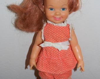 Cinnamon Doll Velvet's Little Sister by Ideal 1972 Orange Dress Outfit Crissy Family