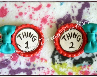 """Dr Seuss Inspired """"Thing 1"""" & """"Thing 2"""" Bottle Cap Hair Clips"""