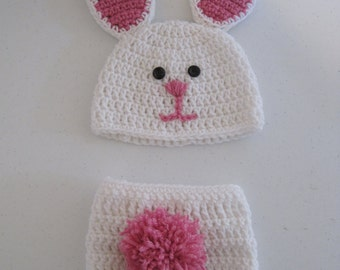 Adorable Bunny Hat with Daiper Cover