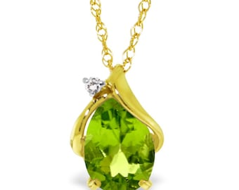 2.13 Ct 14k Solid Gold Diamond and Peridot Necklace Fine Jewelry / Birthstone Necklace / August Jewelry (Yellow Gold, White Gold, Rose Gold)